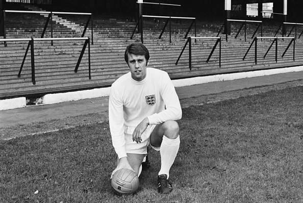 England international footballer, Geoff Hurst, in the strip the England national football team will wear in the 1970 FIFA World Cup, 1969. (Photo by Daily Express/Hulton Archive/Getty Images)