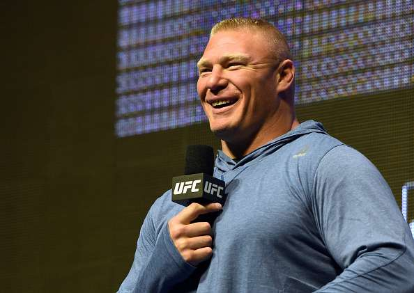 LAS VEGAS, NV - JULY 07:  Mixed martial artist Brock Lesnar smiles as he takes questions from members of the media during an open workout for UFC 200 at T-Mobile Arena on July 7, 2016 in Las Vegas, Nevada. Lesnar will face Mark Hunt on July 9 in Las Vegas in a heavyweight bout that will serve as UFC 200