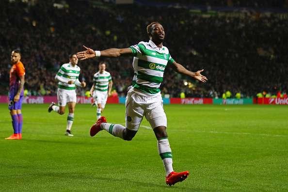 GLASGOW, SCOTLAND - SEPTEMBER 28:  Moussa Dembele of Celtic celebrates after scoring his team