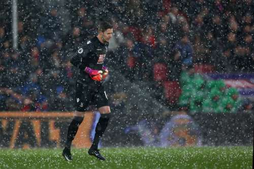 LONDON, ENGLAND - JANUARY 28: Wayne Hennessey of Crystal Palace looks on as the hail falls during the Emirates FA Cup Fourth Round match between Crystal Palace and Manchester City at Selhurst Park on January 28, 2017 in London, England.  (Photo by Steve Bardens/Getty Images)