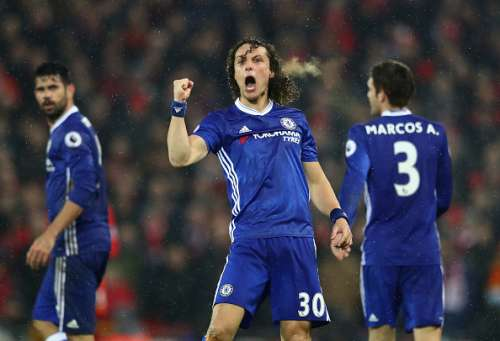 LIVERPOOL, ENGLAND - JANUARY 31:  David Luiz of Chelsea celebrates scoring the opening goal during the Premier League match between Liverpool and Chelsea at Anfield on January 31, 2017 in Liverpool, England.  (Photo by Clive Mason/Getty Images)
