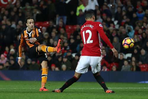 MANCHESTER, ENGLAND - FEBRUARY 01: Lazar Markovic of Hull City hits the post during the Premier League match between Manchester United and Hull City at Old Trafford on February 1, 2017 in Manchester, England.  (Photo by Julian Finney/Getty Images)