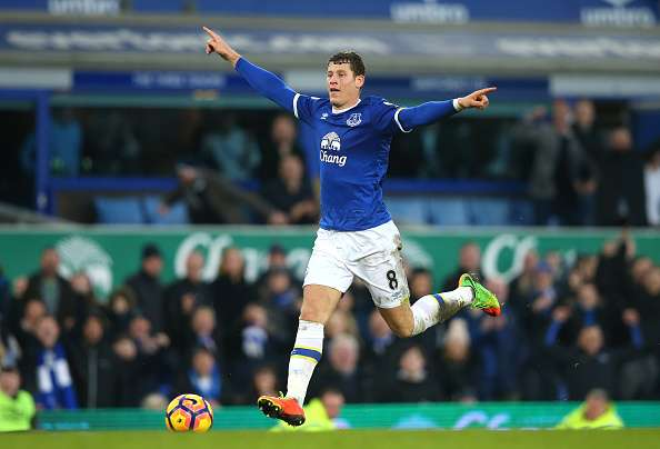 LIVERPOOL, ENGLAND - FEBRUARY 04:  Ross Barkley of Everton celebrates scoring his sides sixth goal during the Premier League match between Everton and AFC Bournemouth at Goodison Park on February 4, 2017 in Liverpool, England.  (Photo by Alex Livesey/Getty Images)