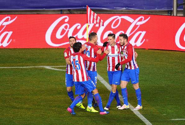 MADRID, SPAIN - FEBRUARY 12:  Fernando Torres of Club Atletico de Madrid celebrates after scoring his team