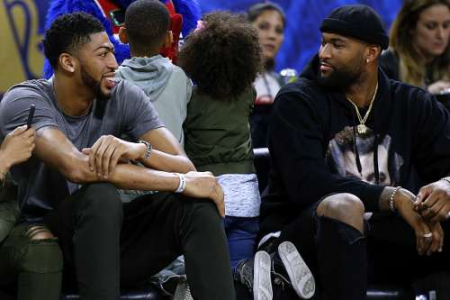 NEW ORLEANS, LA - FEBRUARY 17:  Anthony Davis of the New Orleans Pelicans talks to DeMarcus Cousins of the Sacramento Kings during the NBA All-Star Celebrity Game at the Mercedes-Benz Superdome on February 17, 2017 in New Orleans, Louisiana. NOTE TO USER: User expressly acknowledges and agrees that, by downloading and or using this photograph, User is consenting to the terms and conditions of the Getty Images License Agreement.  (Photo by Jonathan Bachman/Getty Images)