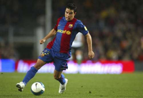 BARCELONA, SPAIN - FEBRUARY 11: Javier Saviola of Barcelona in action during the La Liga match between FC Barcelona and Racing de Santander at the Camp Nou stadium on February 11, 2007 played in Barcelona, Spain. (Photo by Bagu Blanco/Getty Images)