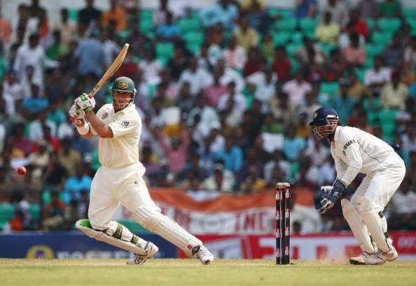 NAGPUR, INDIA - NOVEMBER 10:  Matthew Hayden of Australia cover drives during day five of the Fourth Test match between India and Australia at Vidarbha Cricket Association Stadium on November 10, 2008 in Nagpur, India.  (Photo by Michael Steele/Getty Images)