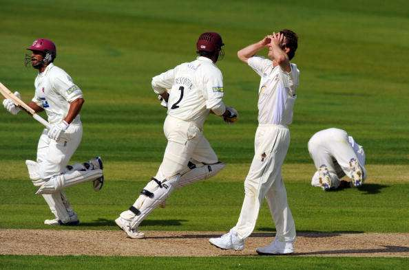 CHESTER-LE-STREET, ENGLAND - SEPTEMBER 01:  Bolwer Callum Thorp of Durham is dejected after a mistake in the field during the LV County Championship match between Durham and Somerset at The Riverside on September 1, 2009 in Chester-le-Street, England.  (Photo by Michael Regan/Getty Images)
