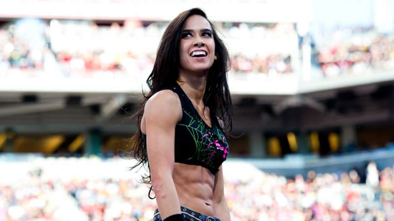 wwe news aj lee reacts to thea trinidad playing her