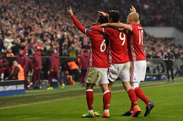 Bayern Munich players celebrating after a goal against Arsenal