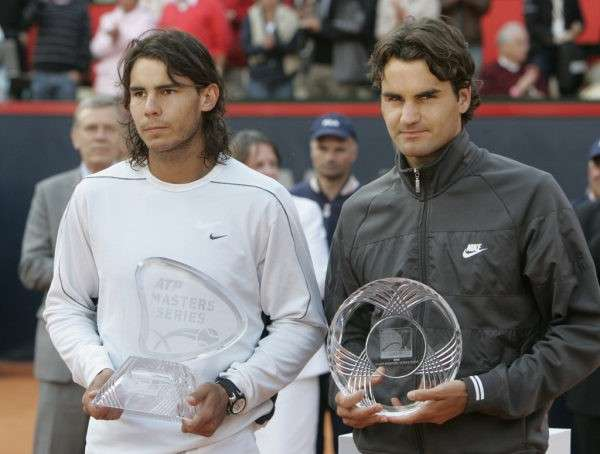 Nadal (left) won the last edition of the Hamburg Masters in 2008.