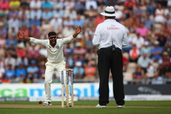 SOUTHAMPTON, ENGLAND - JULY 27:  Ravindra Jadeja of India appeals to umpire Marais Erasmus during day one of the 3rd Investec Test match between England and India at the Ageas Bowl on July 27, 2014 in Southampton, England.  (Photo by Michael Steele/Getty Images)