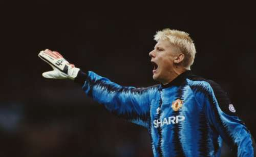 MANCHESTER, UNITED KINGDOM - OCTOBER 05:  Manchester United goalkeeper Peter Schmeichel in action during a League Division One match between Manchester United and Liverpool at Old Trafford on October 5, 1991 in Manchester, England.  (Photo by Ben Radford/Allsport UK/Getty Images)