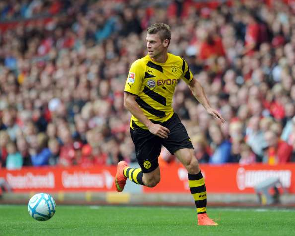 LIVERPOOL, ENGLAND - AUGUST 10:  Lukasz Piszczek of Borussia Dortmund during the Pre Season Friendly match between Liverpool and Borussia Dortmund at Anfield on August 10, 2014 in Liverpool, England. (Photo by Clint Hughes/Getty Images)