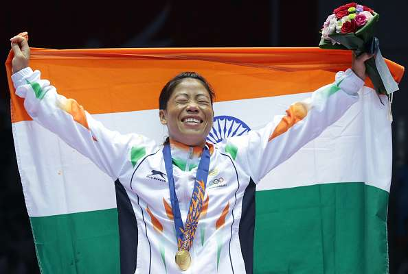 INCHEON, SOUTH KOREA - OCTOBER 01:  M.C. Mary Kom of India celebrates after winning the Womens Flyweight Final on day twelve of the 2014 Asian Games at Seonhak Gymnasium on October 1, 2014 in Incheon, South Korea.  (Photo by Chung Sung-Jun/Getty Images)