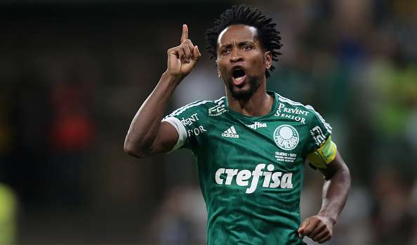 SAO PAULO, BRAZIL - DECEMBER 02:  Ze Roberto of Palmeiras celebrates scoring a goal during the Penalty Shootout after the match between Palmeiras and Santos for the Copa do Brasil 2015 Final at Allianz Parque on December 2, 2015 in Sao Paulo, Brazil.  (Photo by Friedemann Vogel/Getty Images)