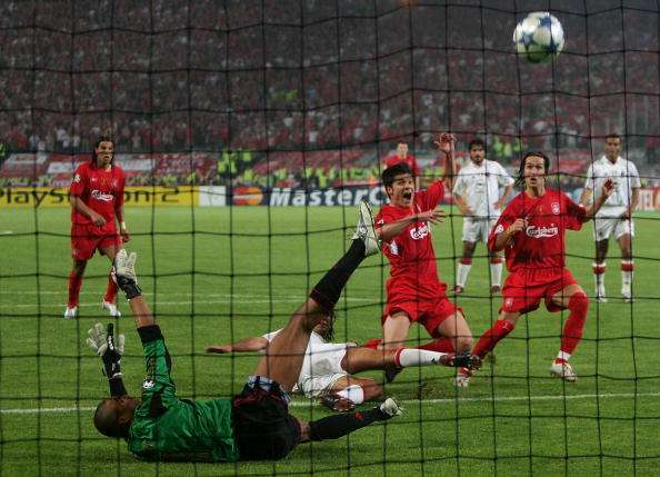 ISTANBUL, TURKEY - MAY 25:  Liverpool midfielder Xabi Alonso of Spain scores the third goal during the European Champions League final between Liverpool and AC Milan on May 25, 2005 at the Ataturk Olympic Stadium in Istanbul, Turkey.  (Photo by Mike Hewitt/Getty Images)