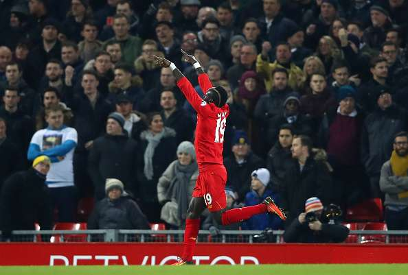 LIVERPOOL, ENGLAND - FEBRUARY 11:  Sadio Mane of Liverpool celebrates scoring the opening goal during the Premier League match between Liverpool and Tottenham Hotspur at Anfield on February 11, 2017 in Liverpool, England.  (Photo by Clive Brunskill/Getty Images)