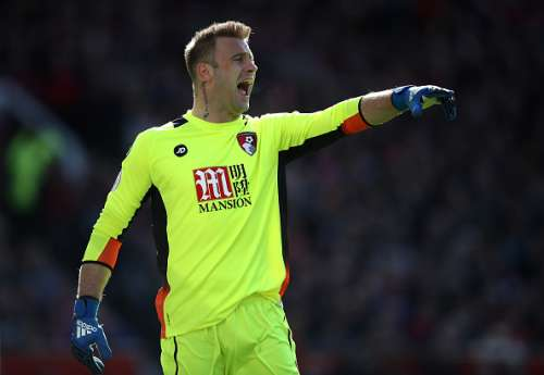 MANCHESTER, ENGLAND - MARCH 04: Artur Boruc of AFC Bournemouth gives his team instructions during the Premier League match between Manchester United and AFC Bournemouth at Old Trafford on March 4, 2017 in Manchester, England.  (Photo by Julian Finney/Getty Images)