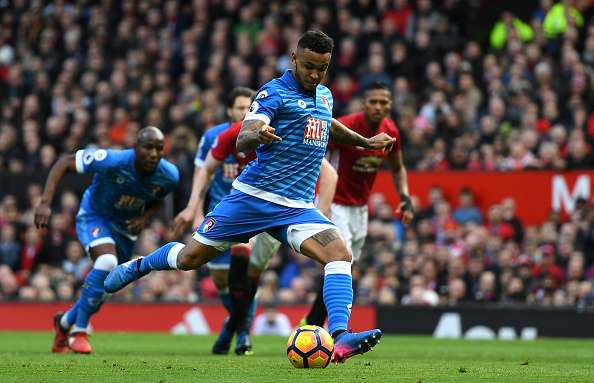 MANCHESTER, ENGLAND - MARCH 04:  Joshua King of AFC Bournemouth scores his sides first goal from the penalty spot during the Premier League match between Manchester United and AFC Bournemouth at Old Trafford on March 4, 2017 in Manchester, England.  (Photo by Shaun Botterill/Getty Images)