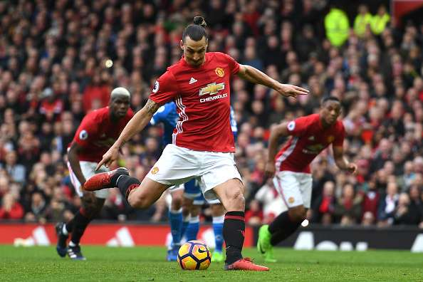 MANCHESTER, ENGLAND - MARCH 04:  Zlatan Ibrahimovic of Manchester United takes a penalty but it is later saved by Artur Boruc of AFC Bournemouth (not pictured) during the Premier League match between Manchester United and AFC Bournemouth at Old Trafford on March 4, 2017 in Manchester, England.  (Photo by Shaun Botterill/Getty Images)