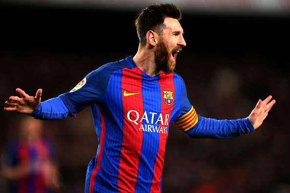 BARCELONA, SPAIN - MARCH 04:  Lionel Messi of Barcelona celebrates after scoring the opening goal during the La Liga match between FC Barcelona and RC Celta de Vigo at the Camp Nou on March 4, 2017 in Barcelona, Spain.  (Photo by Dan Istitene/Getty Images)