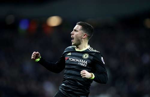 STRATFORD, ENGLAND - MARCH 06:  Eden Hazard of Chelsea celebrates after he scores his side first goal during the Premier League match between West Ham United and Chelsea at London Stadium on March 6, 2017 in Stratford, England.  (Photo by Julian Finney/Getty Images)