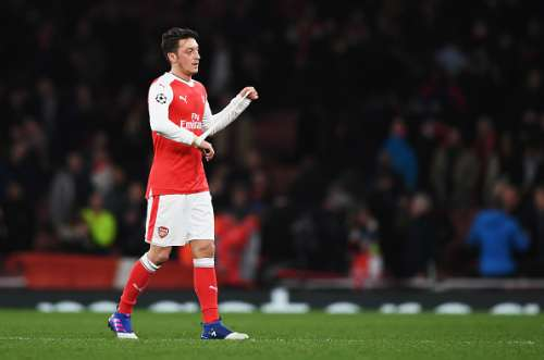LONDON, ENGLAND - MARCH 07:  Mesut Ozil of Arsenal looks dejected in defeat after the UEFA Champions League Round of 16 second leg match between Arsenal FC and FC Bayern Muenchen at Emirates Stadium on March 7, 2017 in London, United Kingdom.  (Photo by Shaun Botterill/Getty Images)
