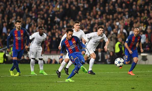 BARCELONA, SPAIN - MARCH 08:  Neymar of Barcelona scores their fifth goal from a penalty during the UEFA Champions League Round of 16 second leg match between FC Barcelona and Paris Saint-Germain at Camp Nou on March 8, 2017 in Barcelona, Spain.  (Photo by Laurence Griffiths/Getty Images)