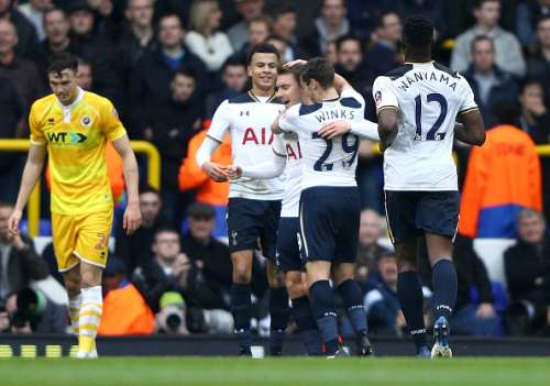 LONDON, ENGLAND - MARCH 12: Christian Eriksen of Tottenham Hotspur celebrates scoring his sides first goal with his Tottenham Hotspur team mates during The Emirates FA Cup Quarter-Final match between Tottenham Hotspur and Millwall at White Hart Lane on March 12, 2017 in London, England.  (Photo by Ian Walton/Getty Images)