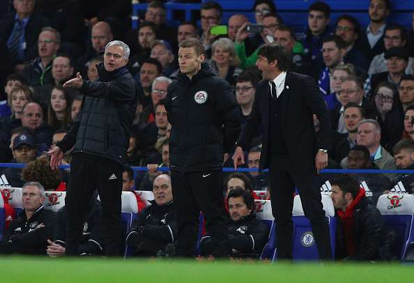 LONDON, ENGLAND - MARCH 13:  Fourth official Mike Jones intervenes as Jose Mourinho manager of Manchester United and Antonio Conte manager of Chelsea clash during The Emirates FA Cup Quarter-Final match between Chelsea and Manchester United at Stamford Bridge on March 13, 2017 in London, England.  (Photo by Ian Walton/Getty Images)