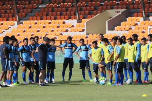 Indian football team in training