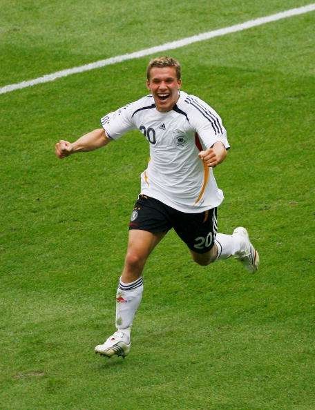 BERLIN - JUNE 20:  Lukas Podolski of Germany celebrates scoring his team's third goal during the FIFA World Cup Germany 2006 Group A match between Ecuador and Germany played at the Olympic Stadium on June 20, 2006 in Berlin, Germany.  (Photo by Shaun Botterill/Getty Images)
