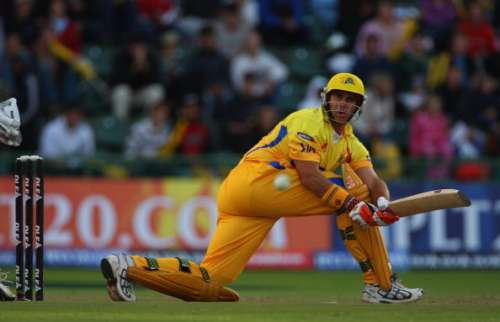 PORT ELIZABETH, SOUTH AFRICA - APRIL 20:  Matthew Hayden of Chennai hits out during IPL T20 match between Chennai Super Kings and Royal Challengers Bangalore at St Georges Cricket Ground on April 20, 2009 in Port Elizabeth, South Africa.  (Photo by Tom Shaw/Getty Images)