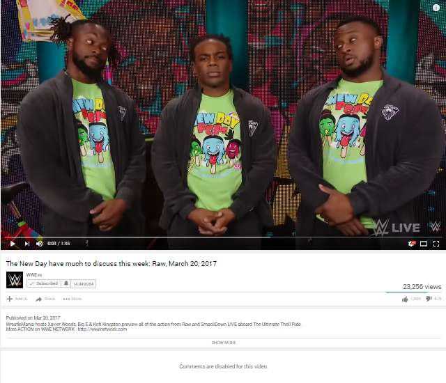 Wwe News Wwe Disables Comments On New Day Youtube Video Which Was A