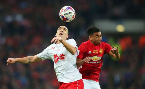 LONDON, ENGLAND - FEBRUARY 26:  Oriol Romeu of Southampton and Jesse Lingard of Manchester United in action during the EFL Cup Final match between Manchester United and Southampton at Wembley Stadium on February 26, 2017 in London, England.  (Photo by Alex Livesey/Getty Images)