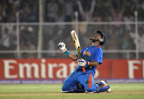 AHMEDABAD, INDIA - MARCH 24:  Yuvraj Singh of India celebrates hitting the winning runs during the 2011 ICC World Cup Quarter Final match between Australia and India at Sardar Patel Stadium on March 24, 2011 in Ahmedabad, India.  (Photo by Hamish Blair/Getty Images)