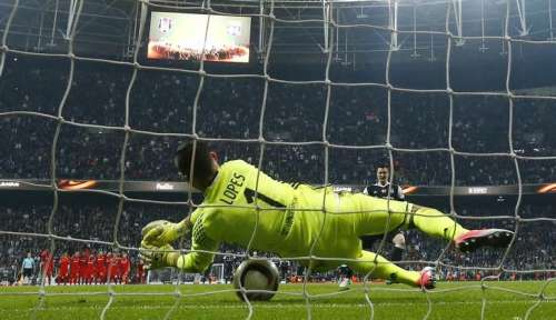 Football Soccer - Besiktas v Olympique Lyonnais - UEFA Europa League Quarter Final Second Leg - Vodafone Arena, Istanbul, Turkey - 20/4/17 Lyon's Anthony Lopes saves a penalty from Besiktas' Matej Mitrovic Reuters / Murad Sezer Livepic