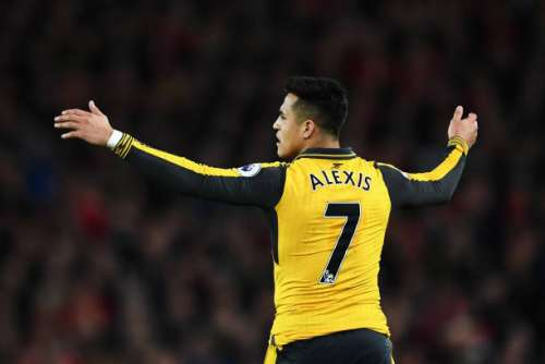 LIVERPOOL, ENGLAND - MARCH 04:  Alexis Sanchez of Arsenal reacts during the Premier League match between Liverpool and Arsenal at Anfield on March 4, 2017 in Liverpool, England.  (Photo by Laurence Griffiths/Getty Images)