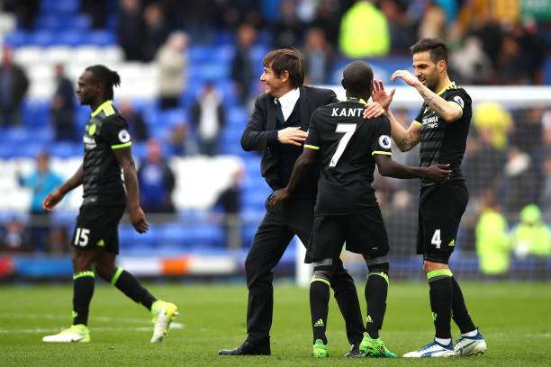 LIVERPOOL, ENGLAND - APRIL 30: Antonio Conte, Manager of Chelsea celebrates with N