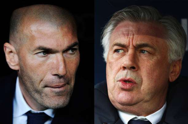 FILE PHOTO (EDITORS NOTE: COMPOSITE OF TWO IMAGES - Image numbers (L) 624347276 and 619016290) In this composite image a comparision has been made between Real Madrid manager Zinedine Zidane (L) and Bayern Munich Head Coach / Manager, Carlo Ancelotti.  Bayern Munich and Real Madrid meet in the one of the UEFA Champions League Quarter-Finals. ***LEFT IMAGE*** MADRID, SPAIN - MARCH 20: Real Madrid manager Zinedine Zidane looks on before the start of the La Liga match between Real Madrid CF and Sevilla FC at Estadio Santiago Bernabeu on March 20, 2016 in Madrid, Spain. (Photo by Denis Doyle/Getty Images) ***RIGHT IMAGE*** COLOGNE, GERMANY - MARCH 04: Bayern Munich Head Coach / Manager, Carlo Ancelotti looks on during the Bundesliga match between 1. FC Koeln and Bayern Muenchen at RheinEnergieStadion on March 4, 2017 in Cologne, Germany. (Photo by Dean Mouhtaropoulos/Bongarts/Getty Images)