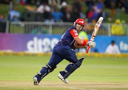 DURBAN, SOUTH AFRICA - OCTOBER 25: David Warner  during the Karbonn Smart CLT20 Semi Final match between bizhub Highveld Lions and Delhi Daredevils at Sahara Stadium Kingsmead on October 25, 2012 in Durban, South Africa.(Photo by Anesh Debiky/Gallo Images/Getty Images)