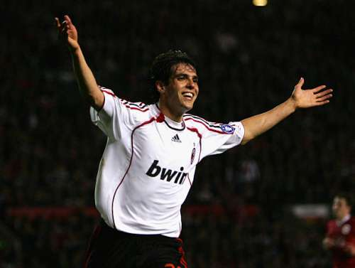 MANCHESTER, UNITED KINGDOM - APRIL 24:  Kaka of  AC Milan celebrates scoring his team's second goal during the UEFA Champions League Semi Final, first leg match between Manchester United and AC Milan at Old Trafford on April 24, 2007 in Manchester, England.  (Photo by Alex Livesey/Getty Images)