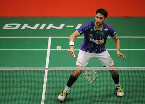 JAKARTA, INDONESIA - AUGUST 12:  Kashyap Parupalli of India competes against Nguyen Tien Minh of Vietnam in the 2015 Total BWF World Championship at Istora Senayan on August 12, 2015 in Jakarta, Indonesia.  (Photo by Robertus Pudyanto/Getty Images)