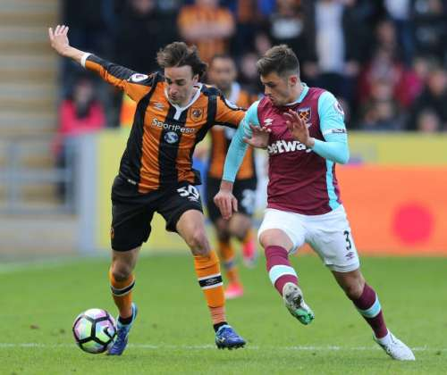 HULL, ENGLAND - APRIL 01: Lazar Markovic of Hull City (L) and Aaron Cresswell of West Ham United (R) battle for possession during the Premier League match between Hull City and West Ham United at KCOM Stadium on April 1, 2017 in Hull, England.  (Photo by Alex Morton/Getty Images)
