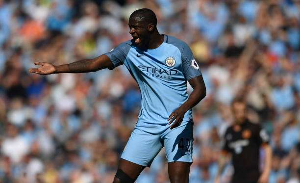 MANCHESTER, ENGLAND - APRIL 08:   Manchester City player Yaya Toure reacts during the Premier League match between Manchester City and Hull City at Etihad Stadium on April 8, 2017 in Manchester, England.  (Photo by Stu Forster/Getty Images)