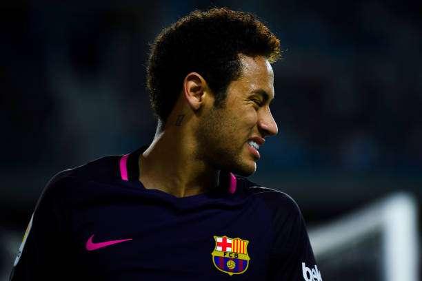 MALAGA, SPAIN - APRIL 08:  Neymar Jr. of FC Barcelona reacts during the La Liga match between Malaga CF and FC Barcelona at La Rosaleda stadium on April 8, 2017 in Malaga, Spain.  (Photo by David Ramos/Getty Images)