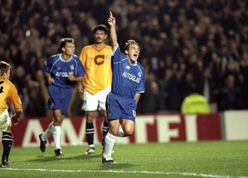 3 Nov 1999:  Albert Ferrer of Chelsea salutes his goal during the UEFA Champions League Group H match against Hertha Berlin played at Stamford Bridge in London. Chelsea won the game 2-0 to top the group. \ Mandatory Credit: Gary Prior /Allsport