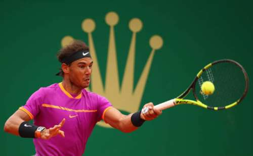 MONTE-CARLO, MONACO - APRIL 23:  Rafael Nadal of Spain plays a forehand against Albert Ramos-Vinolas of Spain in the final on day eight of the Monte Carlo Rolex Masters at Monte-Carlo Sporting Club on April 23, 2017 in Monte-Carlo, Monaco.  (Photo by Clive Brunskill/Getty Images)