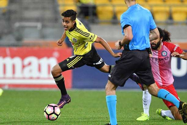 WELLINGTON, NEW ZEALAND - FEBRUARY 18: Sarpreet Singh of the Wellington Phoenix during the round 20 A-League match between the Wellington and Melbourne City at Westpac Stadium on February 18, 2017 in Wellington, New Zealand.  (Photo by Mark Tantrum/Getty Images)